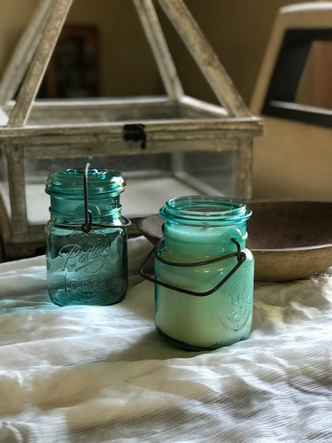 Vintage Wire Bail Mason Jar Candle