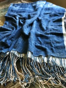 Vintage African Ombré Faded Tie Dyed Denim Mossi Indigo Mudcloth | Runner