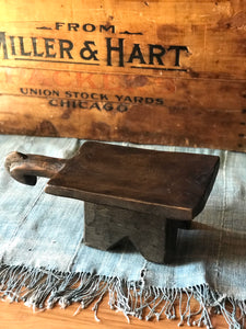 Vintage African Wooden Stool with Handle