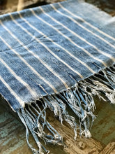 Vintage African Faded Denim Striped Indigo Mudcloth | Runner