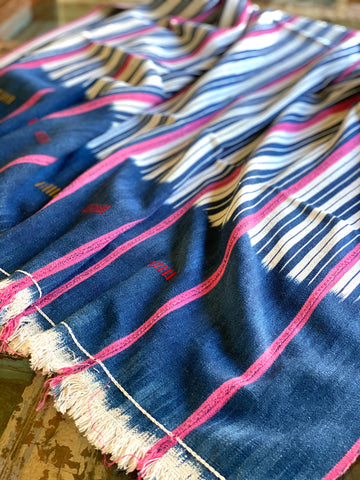 Vintage African Indigo + White Stripes with Pink | Baule Mudcloth No. 11