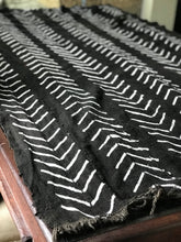 Vintage African Mudcloth - black with white chevrons