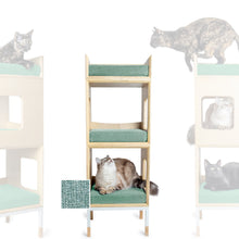 Load image into Gallery viewer, Custom Mjau Haus Modular Cat Furniture Modular Cat Furniture Mjau Home Modern Cat Furniture Double Cube With Bed Catnip Green