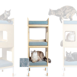Custom Mjau Haus Modular Cat Furniture Modular Cat Furniture Mjau Home Modern Cat Furniture Double Cube With Bed Chartreux Blue