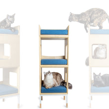 Load image into Gallery viewer, Custom Mjau Haus Modular Cat Furniture Modular Cat Furniture Mjau Home Modern Cat Furniture Double Cube With Bed Original Blue