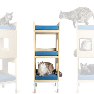 Custom Mjau Haus Modular Cat Furniture Modular Cat Furniture Mjau Home Modern Cat Furniture Double Cube With Bed Original Blue