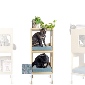 Custom Mjau Haus Modular Cat Furniture Modular Cat Furniture Mjau Home Modern Cat Furniture Double Cube Without Bed Chartreux Blue