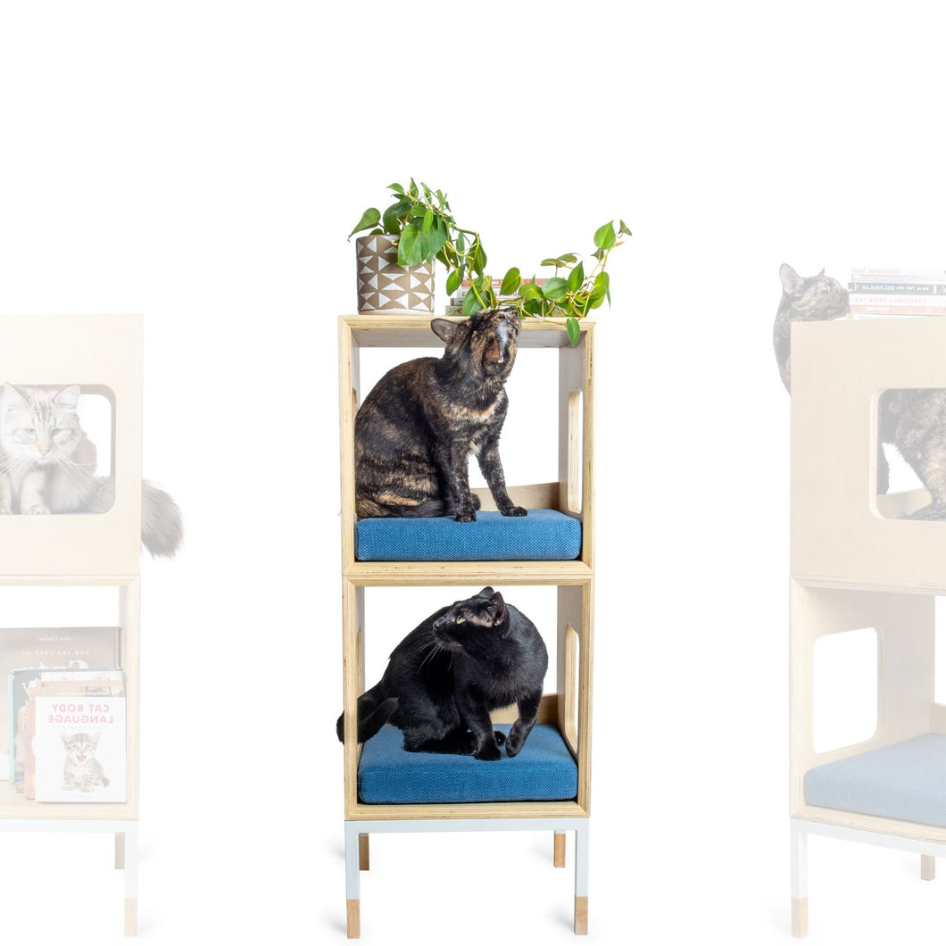 Custom Mjau Haus Modular Cat Furniture Modular Cat Furniture Mjau Home Modern Cat Furniture Double Cube Without Bed Original Blue