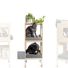 Load image into Gallery viewer, Custom Mjau Haus Modular Cat Furniture Modular Cat Furniture Mjau Home Modern Cat Furniture Double Cube Without Bed Tabby Gray