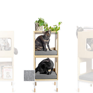 Custom Mjau Haus Modular Cat Furniture Modular Cat Furniture Mjau Home Modern Cat Furniture Double Cube Without Bed Tabby Gray