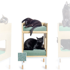 Custom Mjau Haus Modular Cat Furniture Modular Cat Furniture Mjau Home Modern Cat Furniture Single Cube With Bed Catnip Green