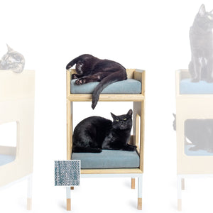 Custom Mjau Haus Modular Cat Furniture Modular Cat Furniture Mjau Home Modern Cat Furniture Single Cube With Bed Chartreux Blue