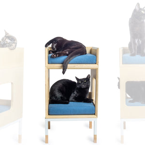Custom Mjau Haus Modular Cat Furniture Modular Cat Furniture Mjau Home Modern Cat Furniture Single Cube With Bed Original Blue