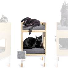 Load image into Gallery viewer, Custom Mjau Haus Modular Cat Furniture Modular Cat Furniture Mjau Home Modern Cat Furniture Single Cube With Bed Tabby Gray