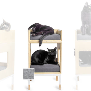 Custom Mjau Haus Modular Cat Furniture Modular Cat Furniture Mjau Home Modern Cat Furniture Single Cube With Bed Tabby Gray