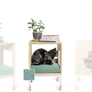 Custom Mjau Haus Modular Cat Furniture Modular Cat Furniture Mjau Home Modern Cat Furniture Single Cube Without Bed Catnip Green
