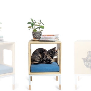 Custom Mjau Haus Modular Cat Furniture Modular Cat Furniture Mjau Home Modern Cat Furniture Single Cube Without Bed Original Blue
