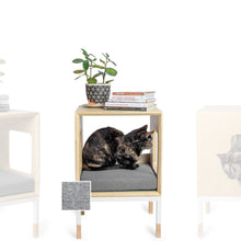 Load image into Gallery viewer, Custom Mjau Haus Modular Cat Furniture Modular Cat Furniture Mjau Home Modern Cat Furniture Single Cube Without Bed Tabby Gray