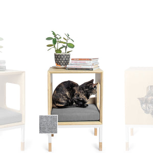 Custom Mjau Haus Modular Cat Furniture Modular Cat Furniture Mjau Home Modern Cat Furniture Single Cube Without Bed Tabby Gray