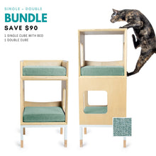 Load image into Gallery viewer, Custom Mjau Haus Modular Cat Furniture Modular Cat Furniture Mjau Home Modern Cat Furniture Single + Double Bundle With Bed Catnip Green