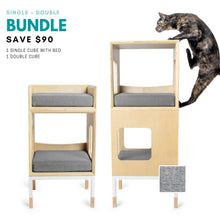 Load image into Gallery viewer, Custom Mjau Haus Modular Cat Furniture Modular Cat Furniture Mjau Home Modern Cat Furniture Single + Double Bundle With Bed Tabby Gray