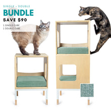 Load image into Gallery viewer, Custom Mjau Haus Modular Cat Furniture Modular Cat Furniture Mjau Home Modern Cat Furniture Single + Double Bundle Without Bed Catnip Green