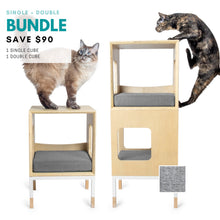 Load image into Gallery viewer, Custom Mjau Haus Modular Cat Furniture Modular Cat Furniture Mjau Home Modern Cat Furniture Single + Double Bundle Without Bed Tabby Gray