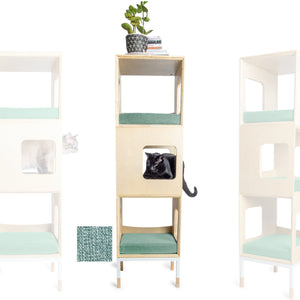 Custom Mjau Haus Modular Cat Furniture Modular Cat Furniture Mjau Home Modern Cat Furniture Triple Cube Without Bed Catnip Green