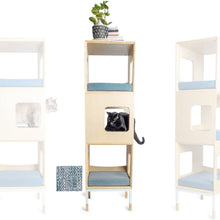 Load image into Gallery viewer, Custom Mjau Haus Modular Cat Furniture Modular Cat Furniture Mjau Home Modern Cat Furniture Triple Cube Without Bed Chartreux Blue