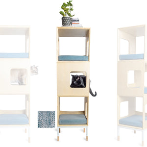 Custom Mjau Haus Modular Cat Furniture Modular Cat Furniture Mjau Home Modern Cat Furniture Triple Cube Without Bed Chartreux Blue