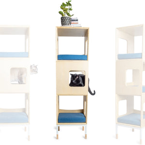 Custom Mjau Haus Modular Cat Furniture Modular Cat Furniture Mjau Home Modern Cat Furniture Triple Cube Without Bed Original Blue