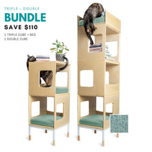 Load image into Gallery viewer, Custom Mjau Haus Modular Cat Furniture Modular Cat Furniture Mjau Home Modern Cat Furniture Triple + Double Bundle With Bed Catnip Green