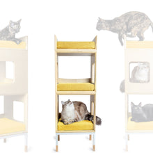 Load image into Gallery viewer, Modular Mjau Haus Modular Cat Furniture Mjau Home Modern Cat Furniture Double Cube With Bed Sunbeam Yellow