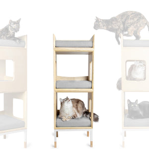 Modular Mjau Haus Modular Cat Furniture Mjau Home Modern Cat Furniture Double Cube With Bed Tabby Gray