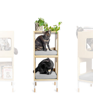 Modular Mjau Haus Modular Cat Furniture Mjau Home Modern Cat Furniture Double Cube Without Bed Tabby Gray