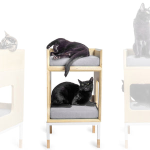 Modular Mjau Haus Modular Cat Furniture Mjau Home Modern Cat Furniture Single Cube With Bed Tabby Gray