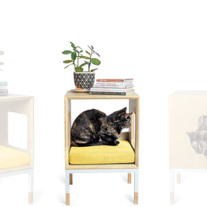Modular Mjau Haus Modular Cat Furniture Mjau Home Modern Cat Furniture Single Cube Without Bed Sunbeam Yellow