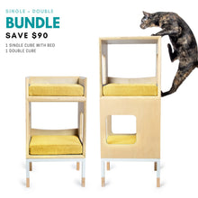 Load image into Gallery viewer, Modular Mjau Haus Modular Cat Furniture Mjau Home Modern Cat Furniture Single + Double Bundle With Bed Sunbeam Yellow