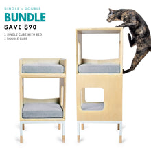 Load image into Gallery viewer, Modular Mjau Haus Modular Cat Furniture Mjau Home Modern Cat Furniture Single + Double Bundle With Bed Tabby Gray