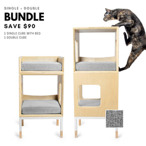 Modular Mjau Haus Modular Cat Furniture Mjau Home Modern Cat Furniture Single + Double Bundle With Bed Tabby Gray