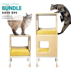 Modular Mjau Haus Modular Cat Furniture Mjau Home Modern Cat Furniture Single + Double Bundle Without Bed Sunbeam Yellow