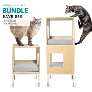 Modular Mjau Haus Modular Cat Furniture Mjau Home Modern Cat Furniture Single + Double Bundle Without Bed Tabby Gray