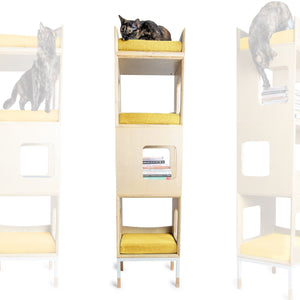 Modular Mjau Haus Modular Cat Furniture Mjau Home Modern Cat Furniture Triple Cube With Bed Sunbeam Yellow