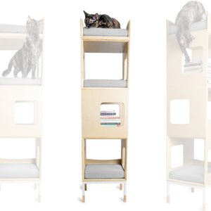 Modular Mjau Haus Modular Cat Furniture Mjau Home Modern Cat Furniture Triple Cube With Bed Tabby Gray