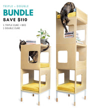 Load image into Gallery viewer, Modular Mjau Haus Modular Cat Furniture Mjau Home Modern Cat Furniture Triple + Double Bundle With Bed Sunbeam Yellow