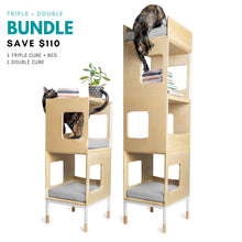 Load image into Gallery viewer, Modular Mjau Haus Modular Cat Furniture Mjau Home Modern Cat Furniture Triple + Double Bundle With Bed Tabby Gray