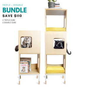 Modular Mjau Haus Modular Cat Furniture Mjau Home Modern Cat Furniture Triple + Double Bundle Without Bed Sunbeam Yellow