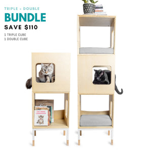 Modular Mjau Haus Modular Cat Furniture Mjau Home Modern Cat Furniture Triple + Double Bundle Without Bed Tabby Gray