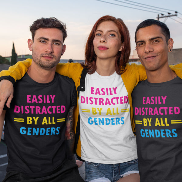 Woman and 2 men wearing Easily Distracted by all Genders - Pansexual T-Shirt - On Trend Shirts
