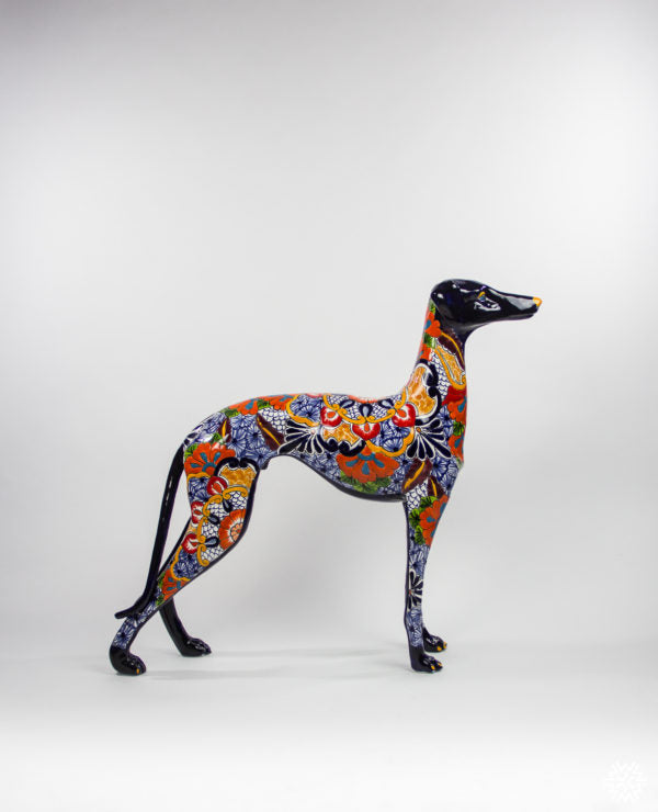 Italian Greyhound Ceramic Talavera Sculpture from Dolores, Hidalgo